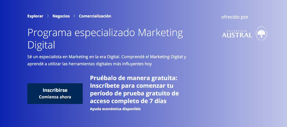 Programa especializado Marketing Digital - Universidad Austral - Coursera